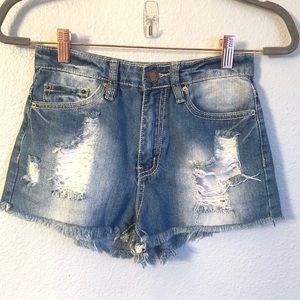 YMI High Rise Medium Wash Distressed Shorts
